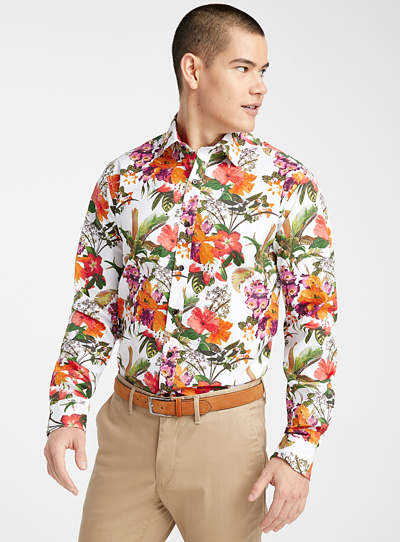 Le 31 Patterned White Tropical botanical shirt  Modern fit for men
