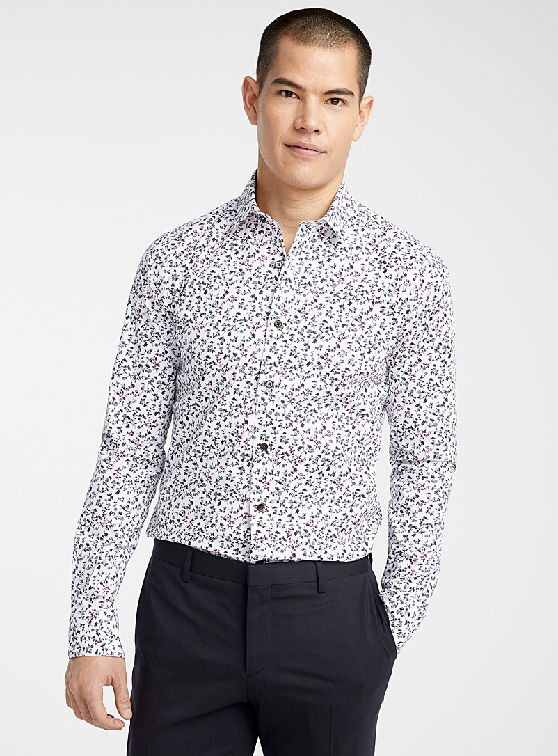 Le 31 Patterned White Floral cluster shirt  Slim fit for men