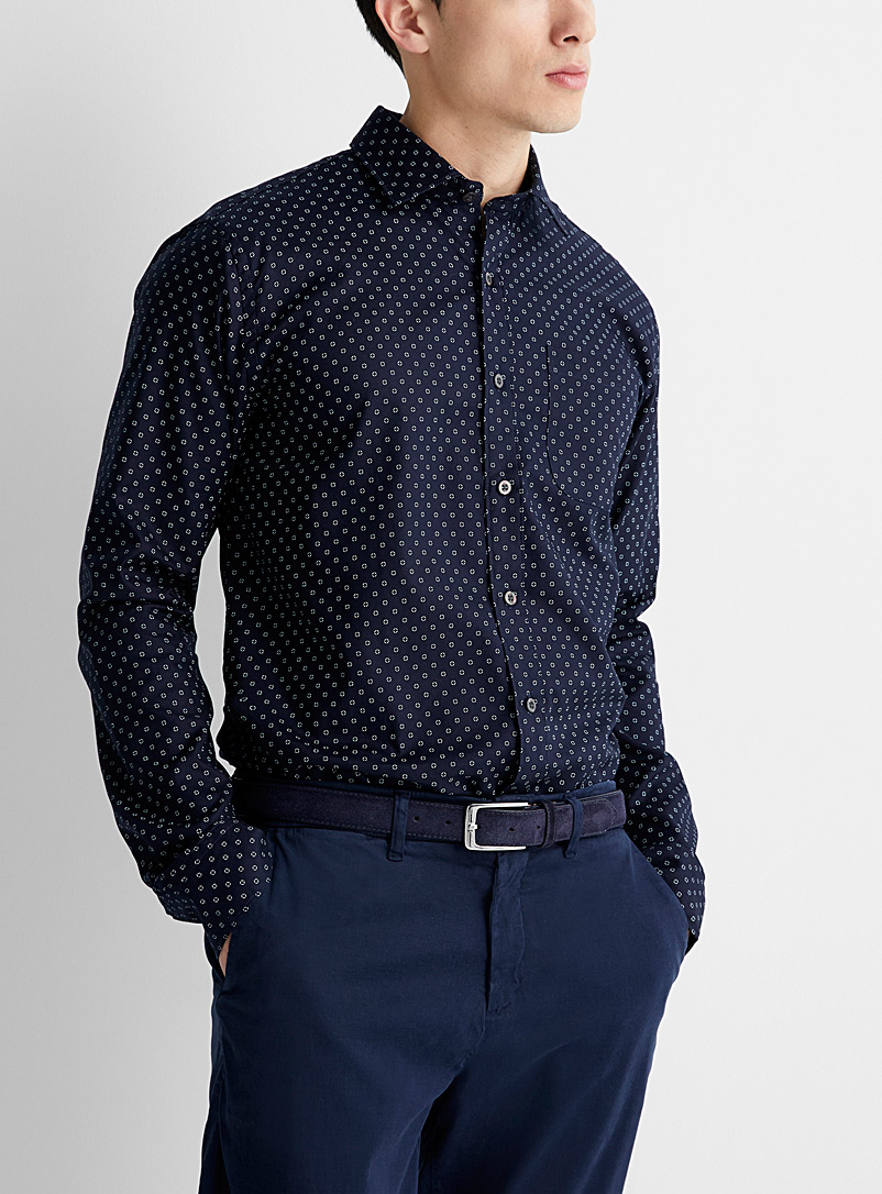 Le 31 Marine Blue Geometric contrast shirt  Modern fit for men