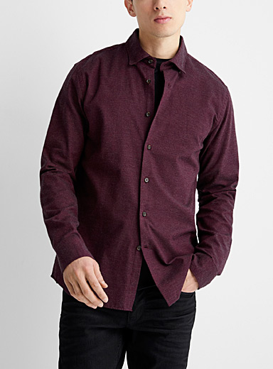 Le 31 Ruby Red Heathered flannel shirt  Modern fit for men