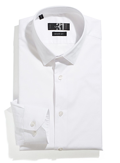 Le 31 White Minimalist stretch shirt  Slim fit for men