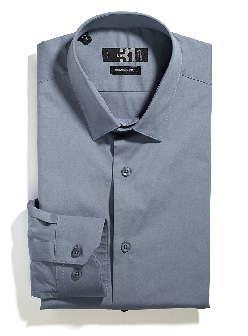 Minimalist stretch shirt  Tailored fit - Tailored fit - Blue