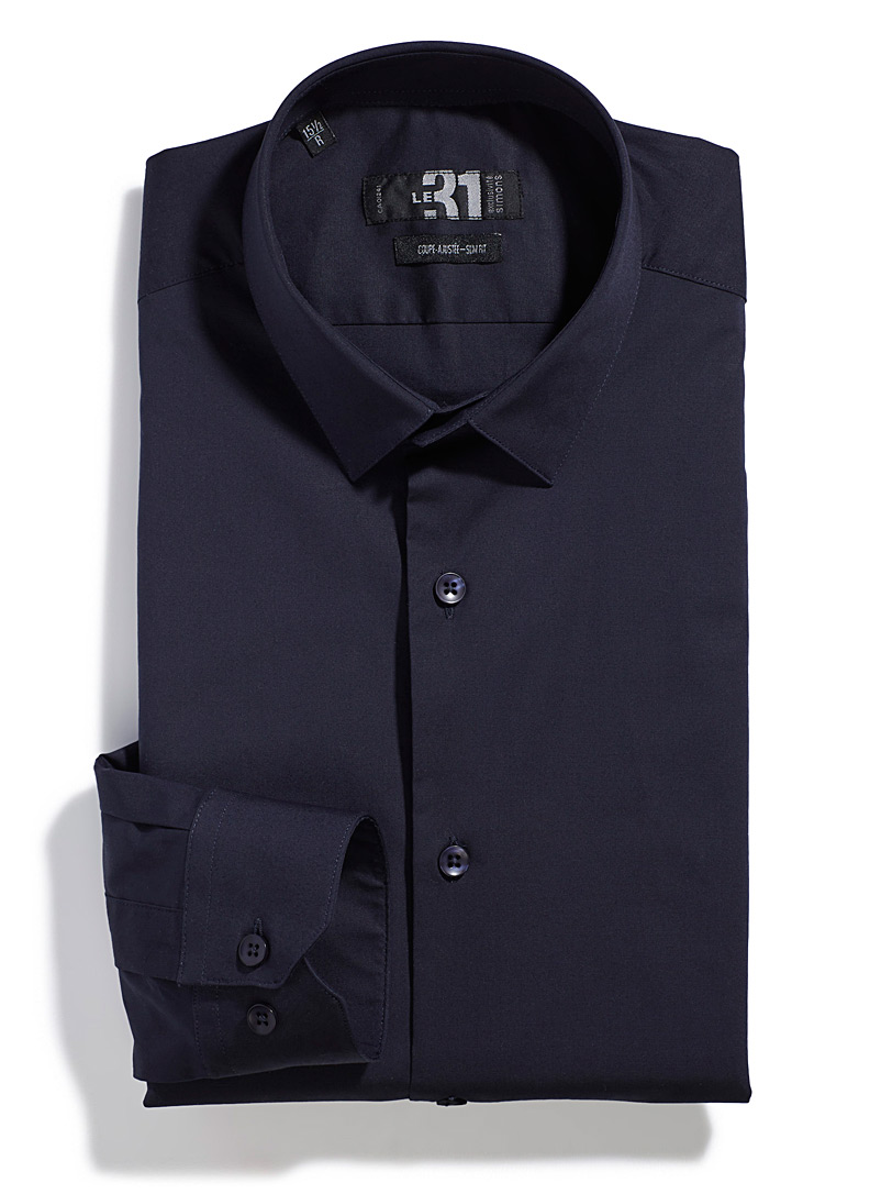 Le 31 Slate Blue Minimalist stretch shirt  Slim fit for men