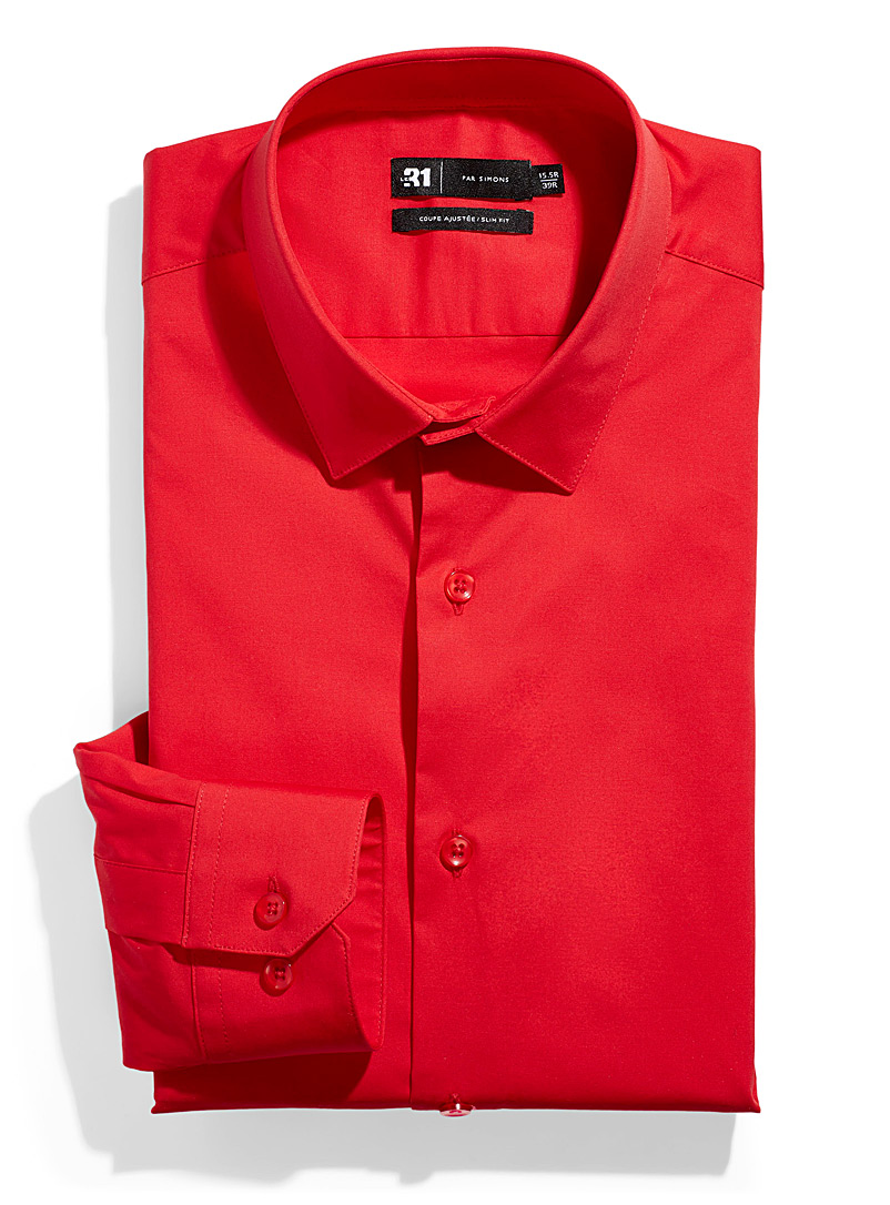 Le 31 Cherry Red Minimalist stretch shirt  Slim fit for men