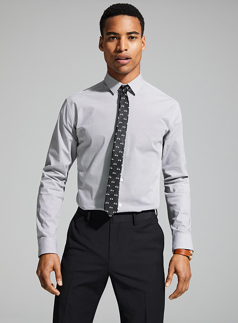 Geometric Traveller shirt  Semi-tailored fit - Modern fit - Patterned White