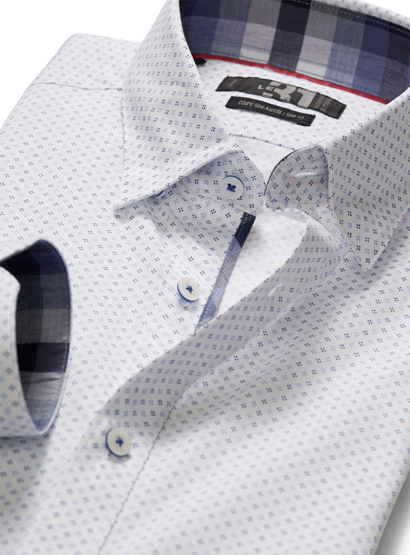 Diamond floral shirt  Semi-tailored fit - Modern Fit - Patterned White