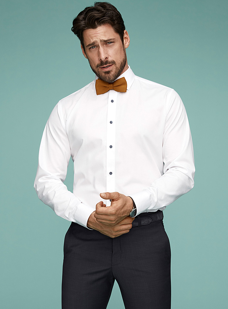 Le 31 White Diamond jacquard shirt  Modern fit for men