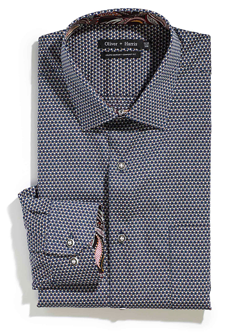 Two-tone geometry shirt  Comfort fit - Comfort Fit - Patterned Blue