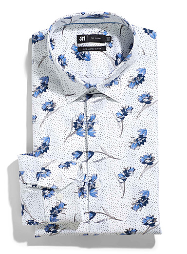 Le 31 Patterned White Dot indigo flower shirt  Slim fit for men