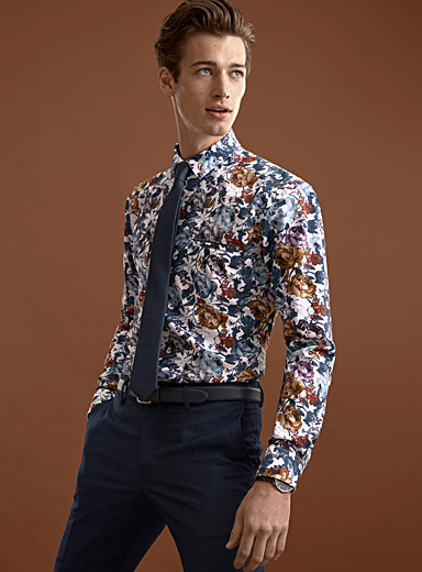 Flower painting oxford shirt <br>Modern fit