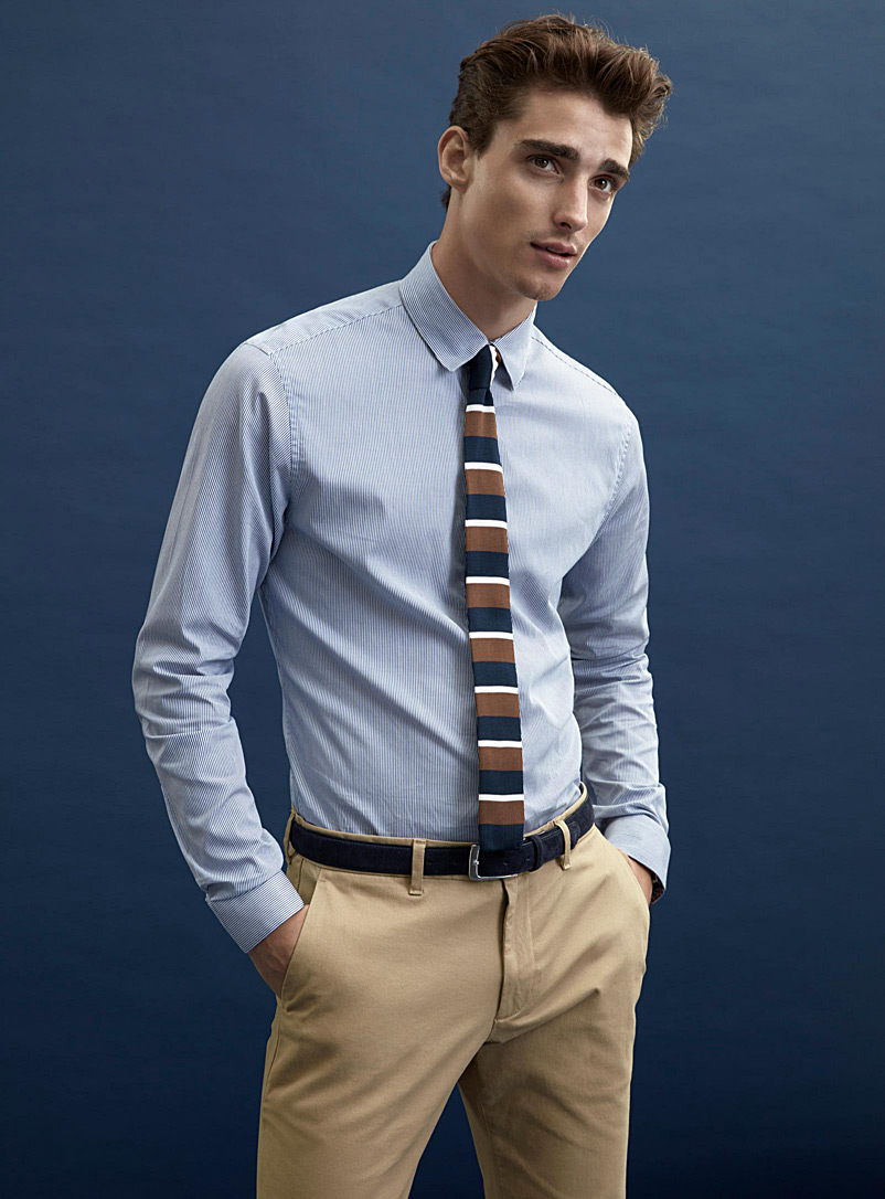 Le 31 Patterned Blue Twin-stripe shirt  Modern fit for men