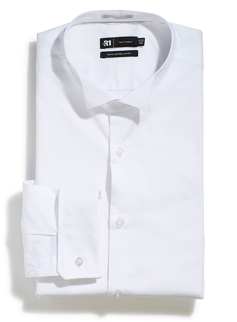 Stretch wing collar shirt  Slim fit - Slim Fit - White