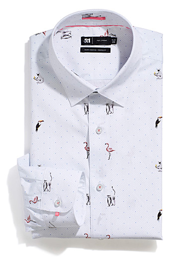 Le 31 Patterned Blue Tropical fauna shirt  Modern fit for men