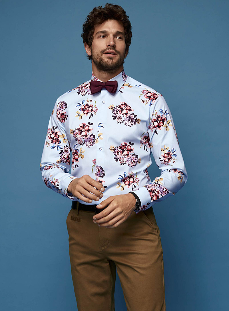 Le 31 Patterned Blue Pastel bouquet shirt  Modern fit   for men
