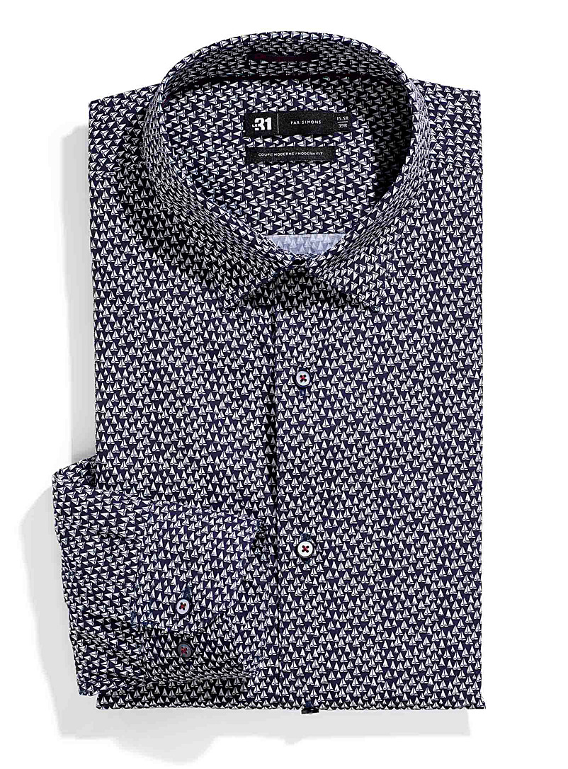 Le 31 Marine Blue Little sailboat shirt  Modern fit for men