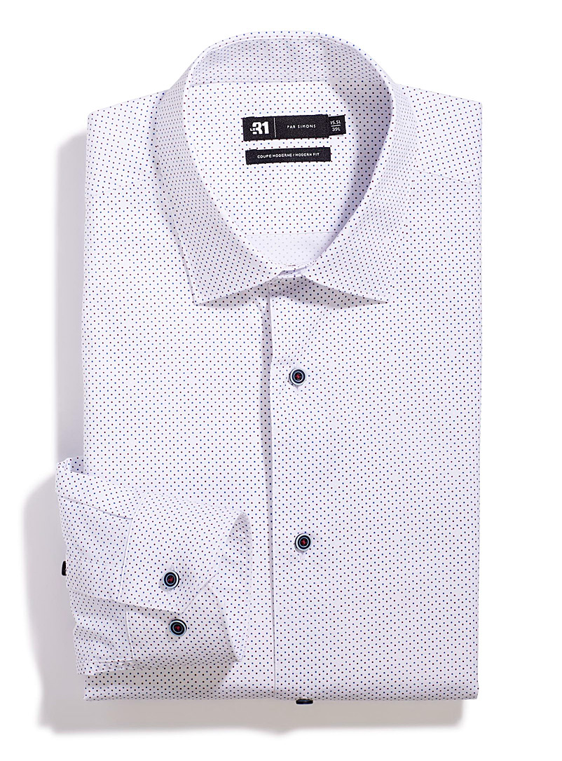 Le 31 Ruby Red Mini graphic dot shirt Modern fit for men