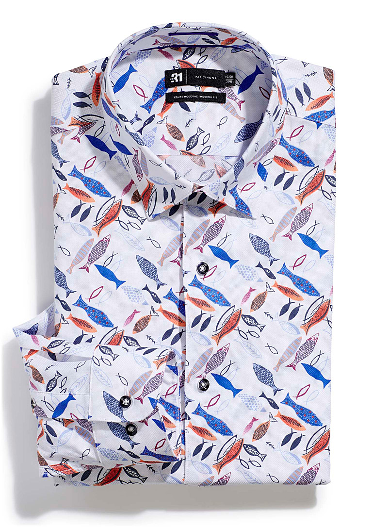 Le 31 Patterned White Drawn fish shirt  Modern fit for men