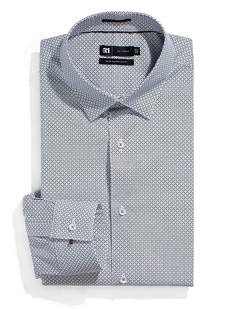 Le 31 Patterned White Geo mosaic shirt  Slim fit for men