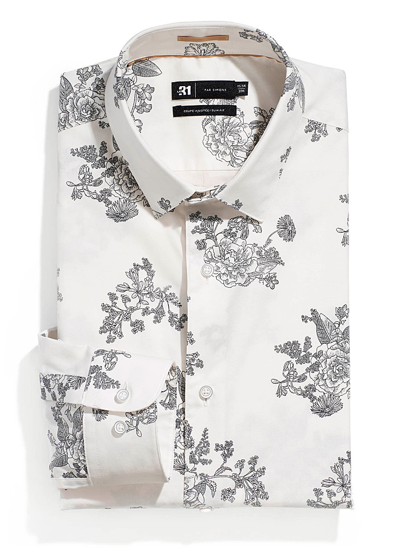 Le 31 Patterned White Traced bouquet shirt  Slim fit for men