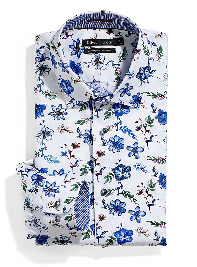 Le 31 White Blue flowers shirt  Comfort fit for men