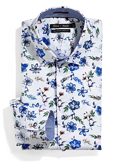 Blue flowers shirt  Comfort fit
