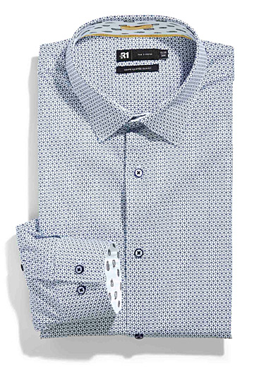 Le 31 Patterned White 3D optical shirt  Slim fit for men