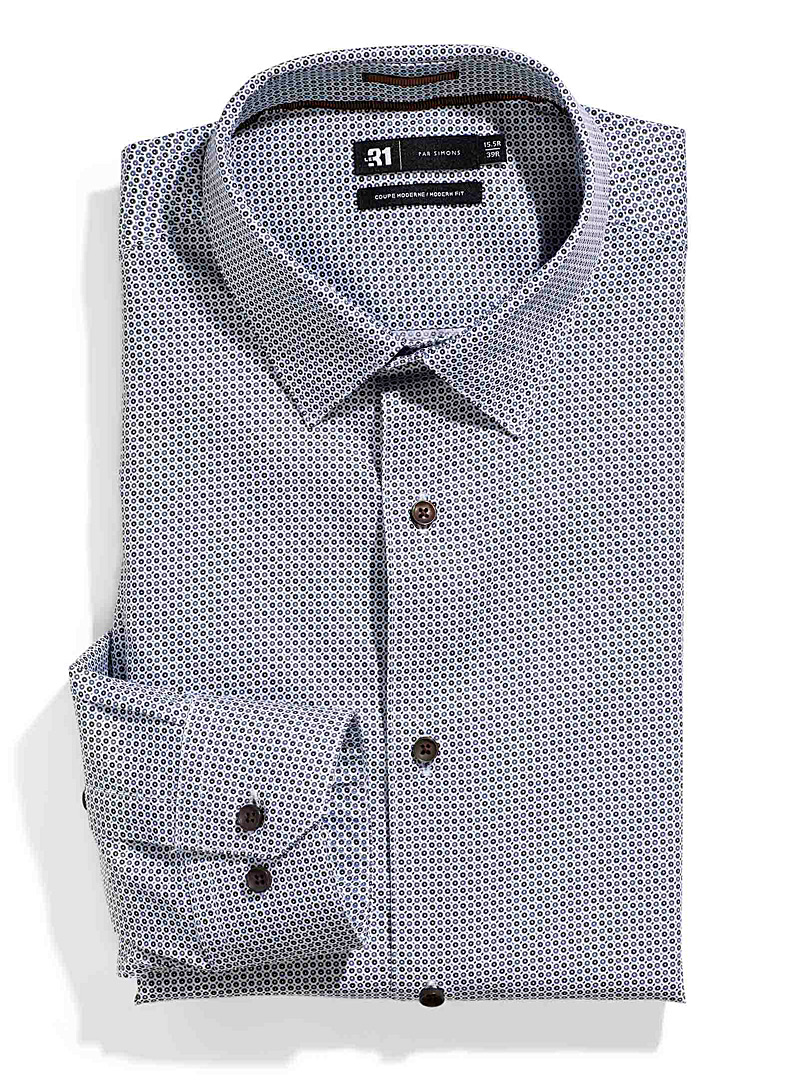 Le 31 Patterned White Circled shirt  Modern fit for men
