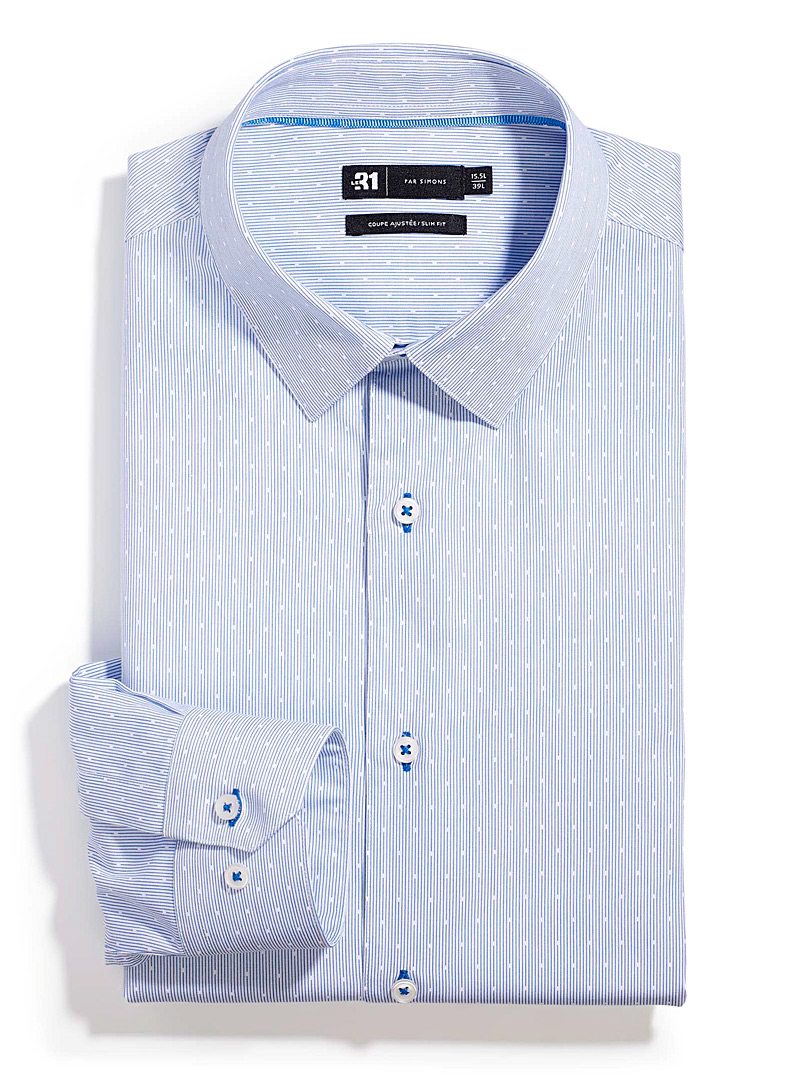 Stripe and dot shirt  Tailored fit - Slim Fit - Patterned Blue