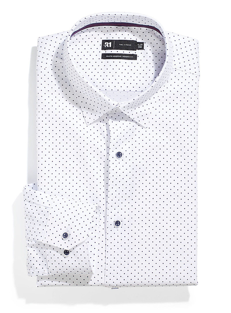 Le 31 Patterned White Contrast micro-dot shirt  Modern fit for men