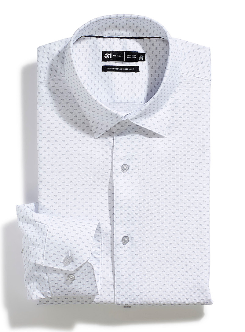 Le 31 White Striated pattern shirt  Modern fit for men