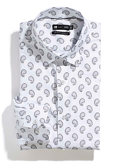Le 31 White Minimalist paisley shirt  Comfort fit for men