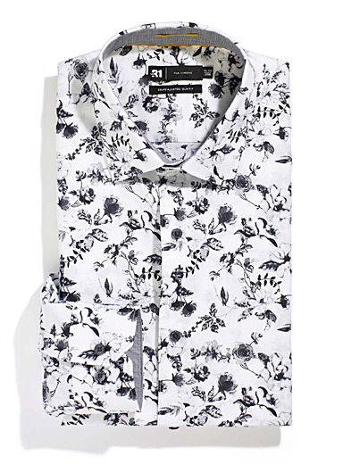 Le 31 Patterned White Winter floral shirt  Slim fit for men