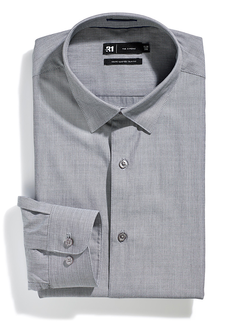 Le 31 Grey Solid end-on-end shirt  Slim fit for men