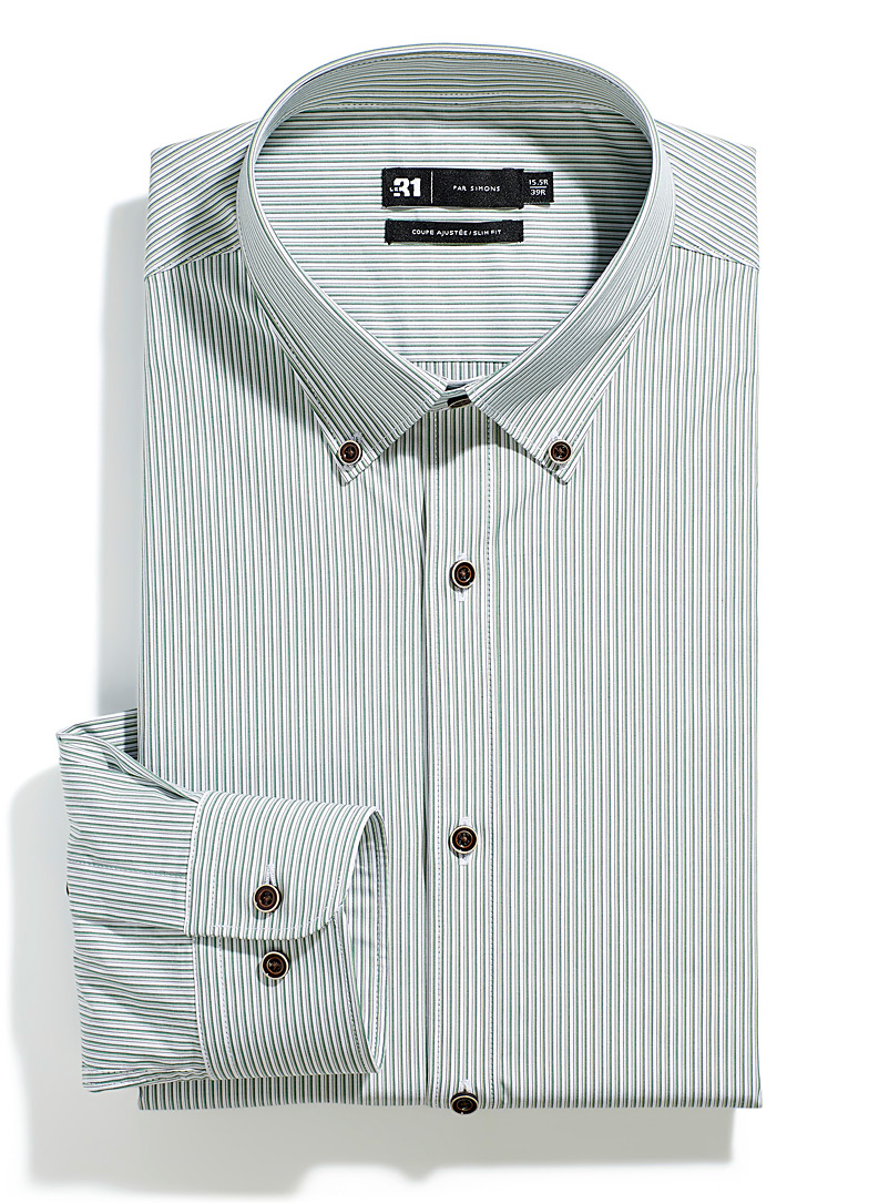 Le 31 Green Sage stripe shirt Slim fit for men
