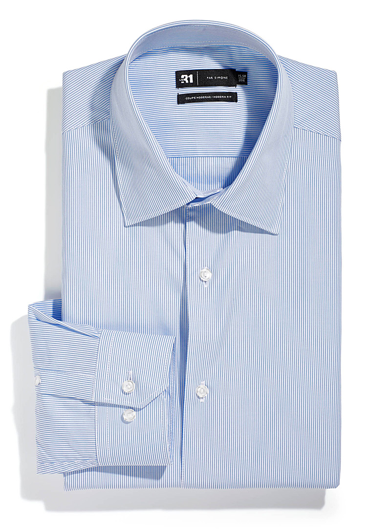 Le 31 Baby Blue Fine stripe shirt  Modern fit for men