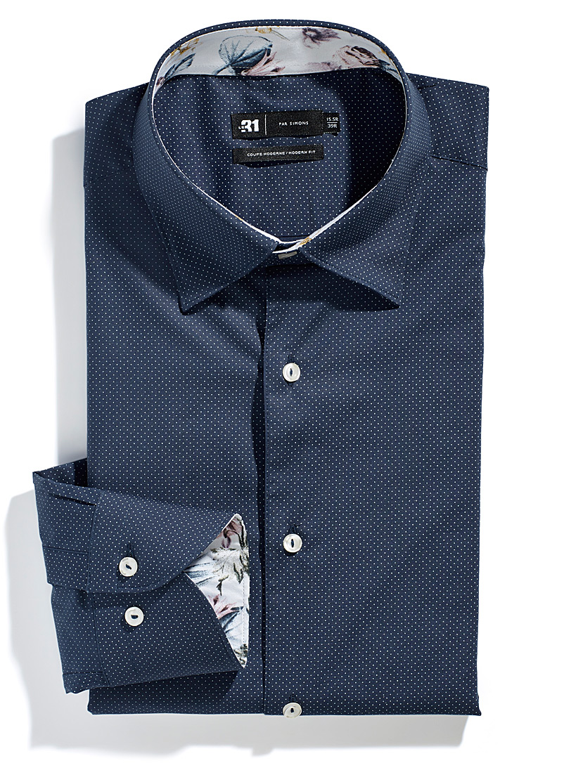 Le 31 Dark Blue Dotwork shirt  Modern fit for men