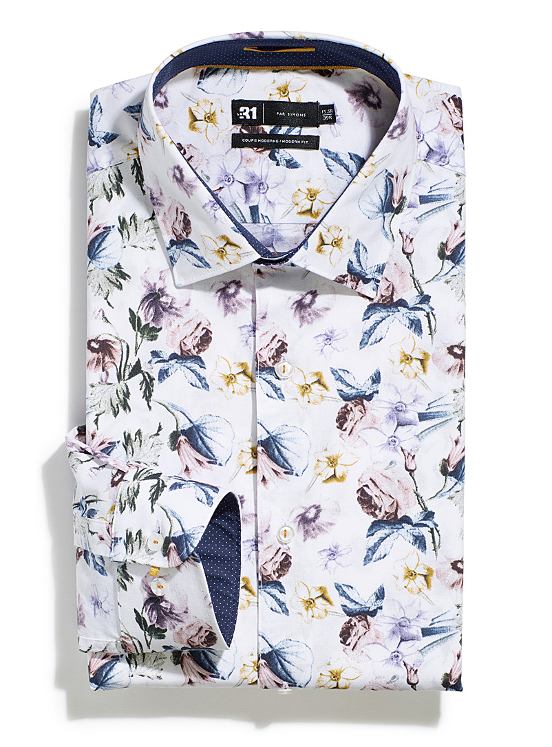 Le 31 Patterned White Painterly floral shirt  Modern fit for men