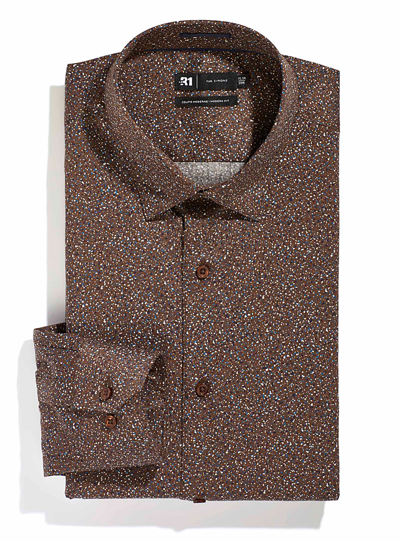 Le 31 Patterned Brown Confetti shirt  Modern fit for men