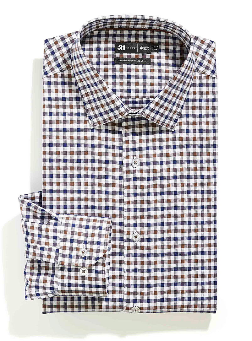 Le 31 Brown Urban check performance shirt Comfort fit for men