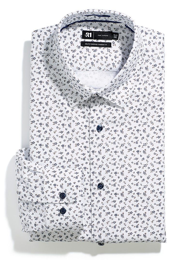 Le 31 Patterned White Minimalist flower shirt Modern fit for men