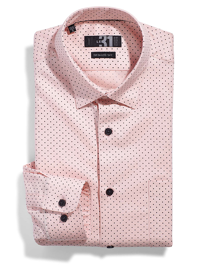 Optical dot shirt  Semi-tailored fit - Modern fit - Dusky Pink