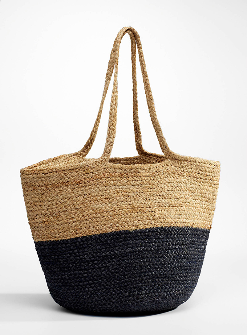 Simons Marine Blue Two-tone jute tote for women