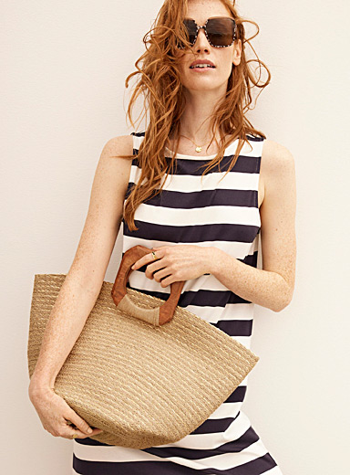 Wood and jute tote