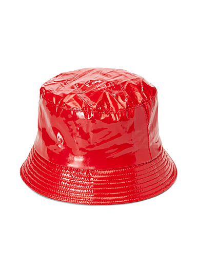 Simons Red Solid waterproof bucket hat for women