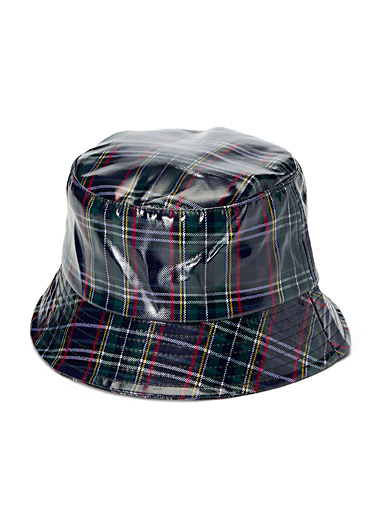 Simons Patterned Blue Waterproof tartan bucket hat for women