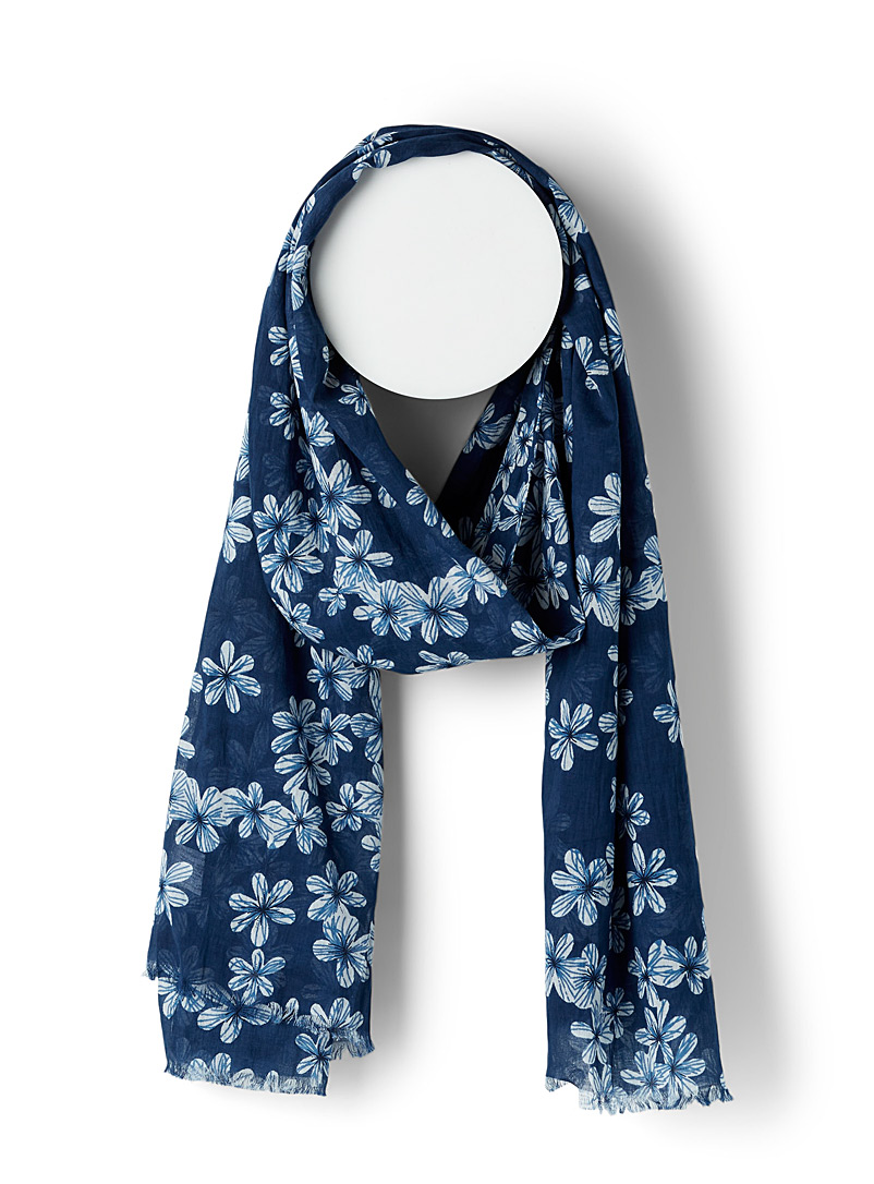 Simons Patterned Yellow Small cherry blossom scarf for women