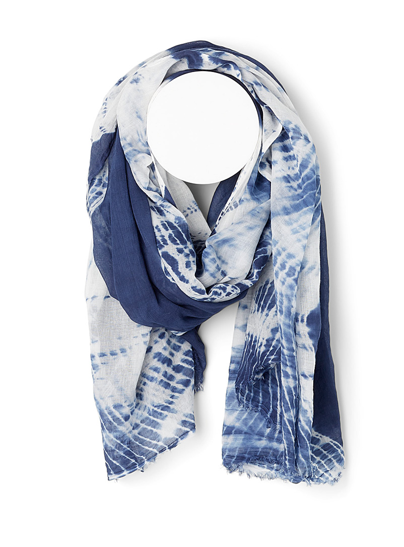 Simons Patterned Blue Tie-dye sarong scarf for women