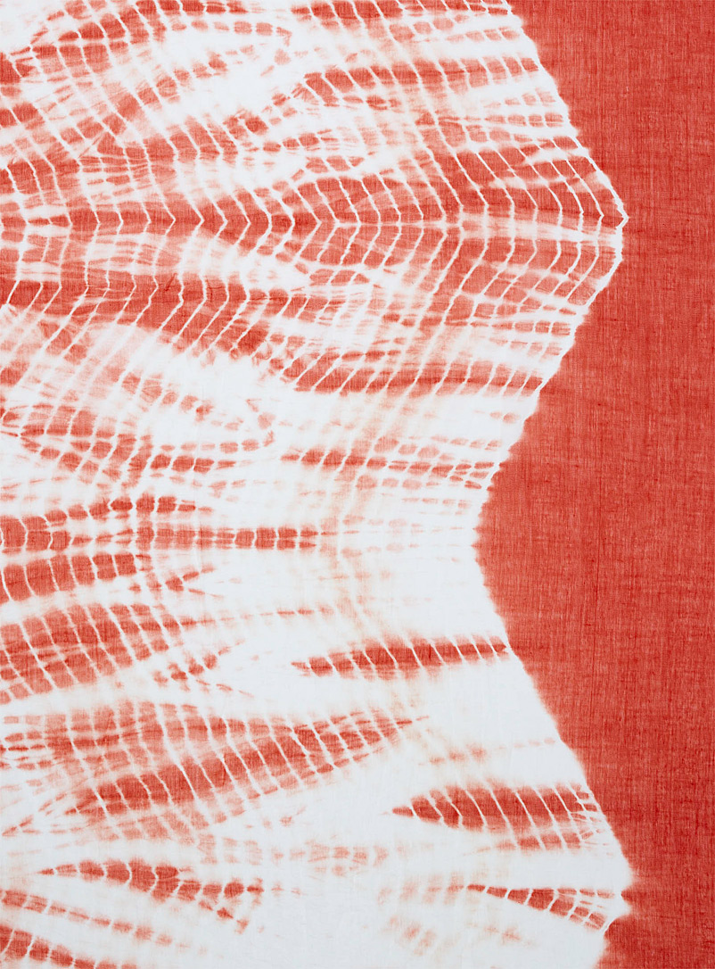 Simons Patterned Red Tie-dye sarong scarf for women