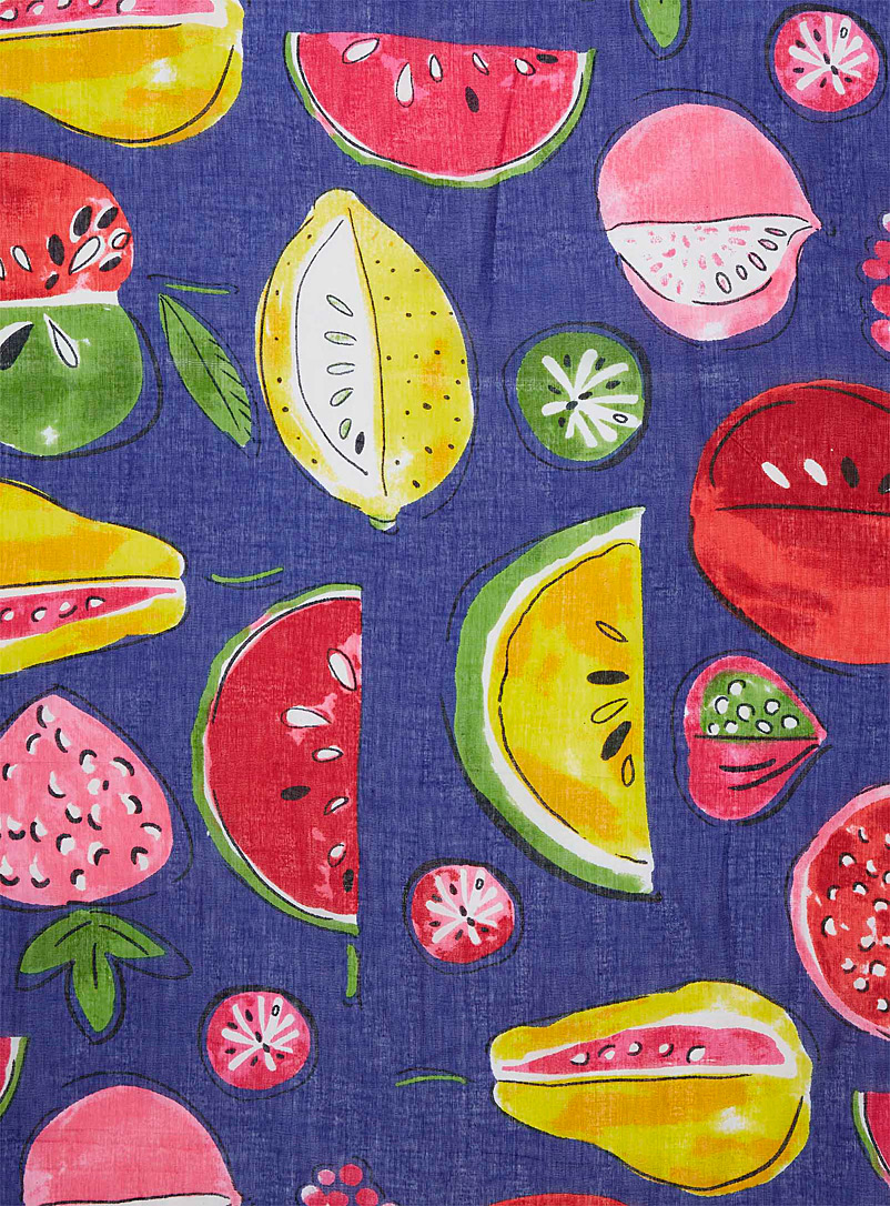 Simons Patterned White Fruity figuration sarong scarf for women