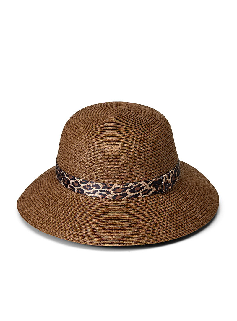 Parkhurst Brown Contrasting bow cloche hat for women